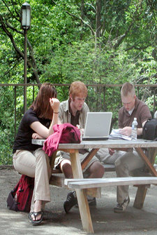 Students studying outside Benson Hall